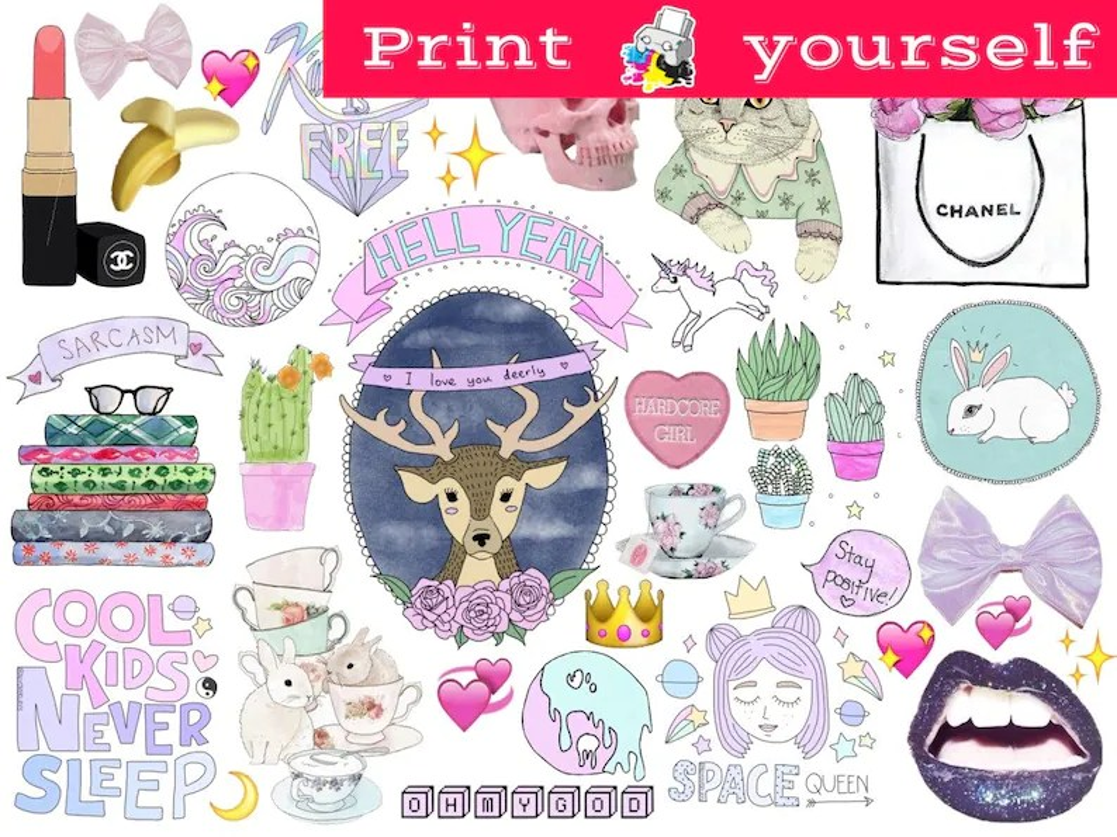 Set 257 Mockup printable Tumblr Stickers Stickers Sets Etsy
