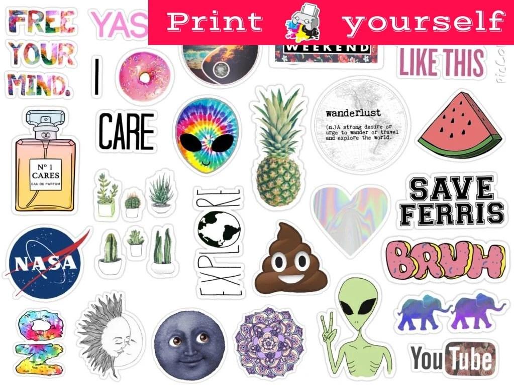 Set 125 Mockup printable Tumblr Stickers Stickers Set of Etsy