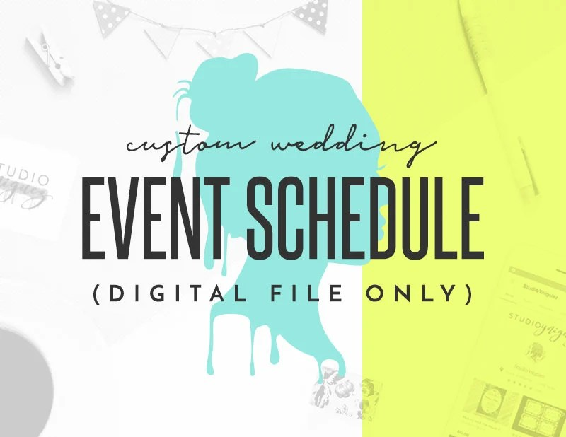 Custom Wedding Event Schedule Design Digital File Only Etsy