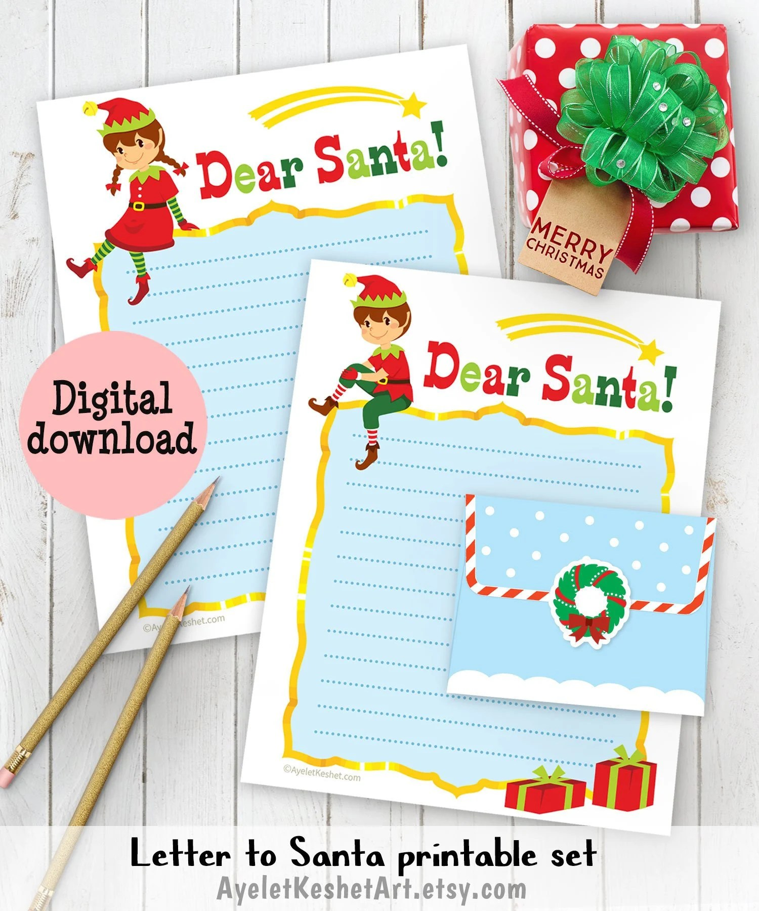 Santa letter printables digital letter writing papers Etsy