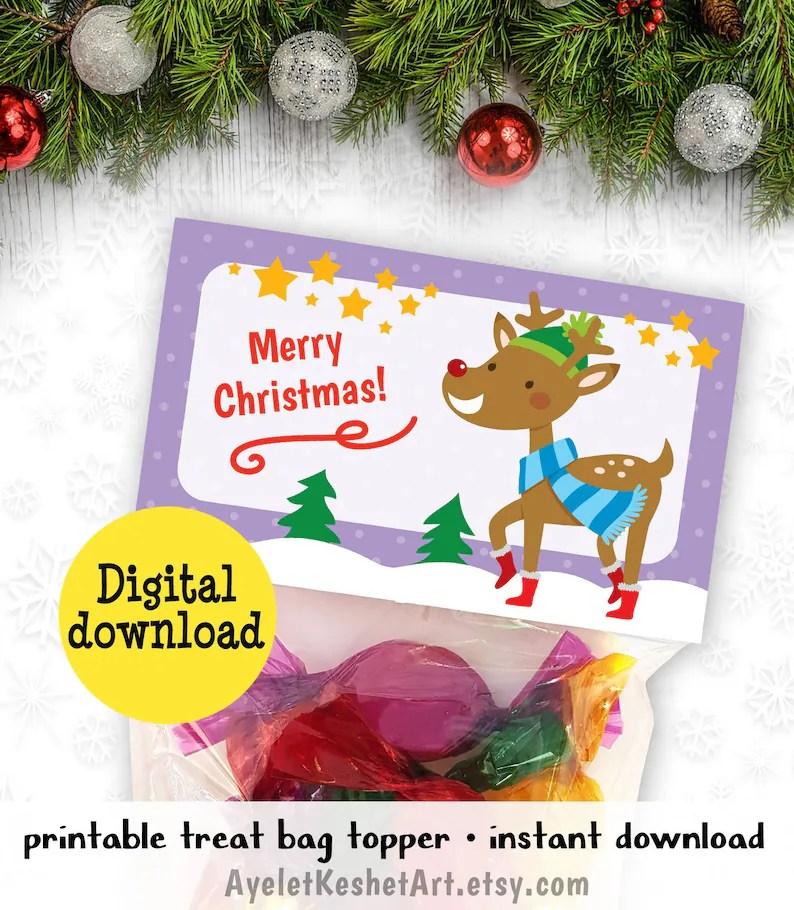 Merry Christmas printable treat bag topper Reindeer Cute Etsy