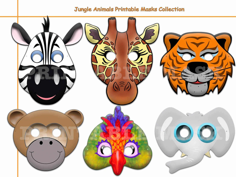 Unique Jungle Animals Printable Masks paper mask safari Etsy