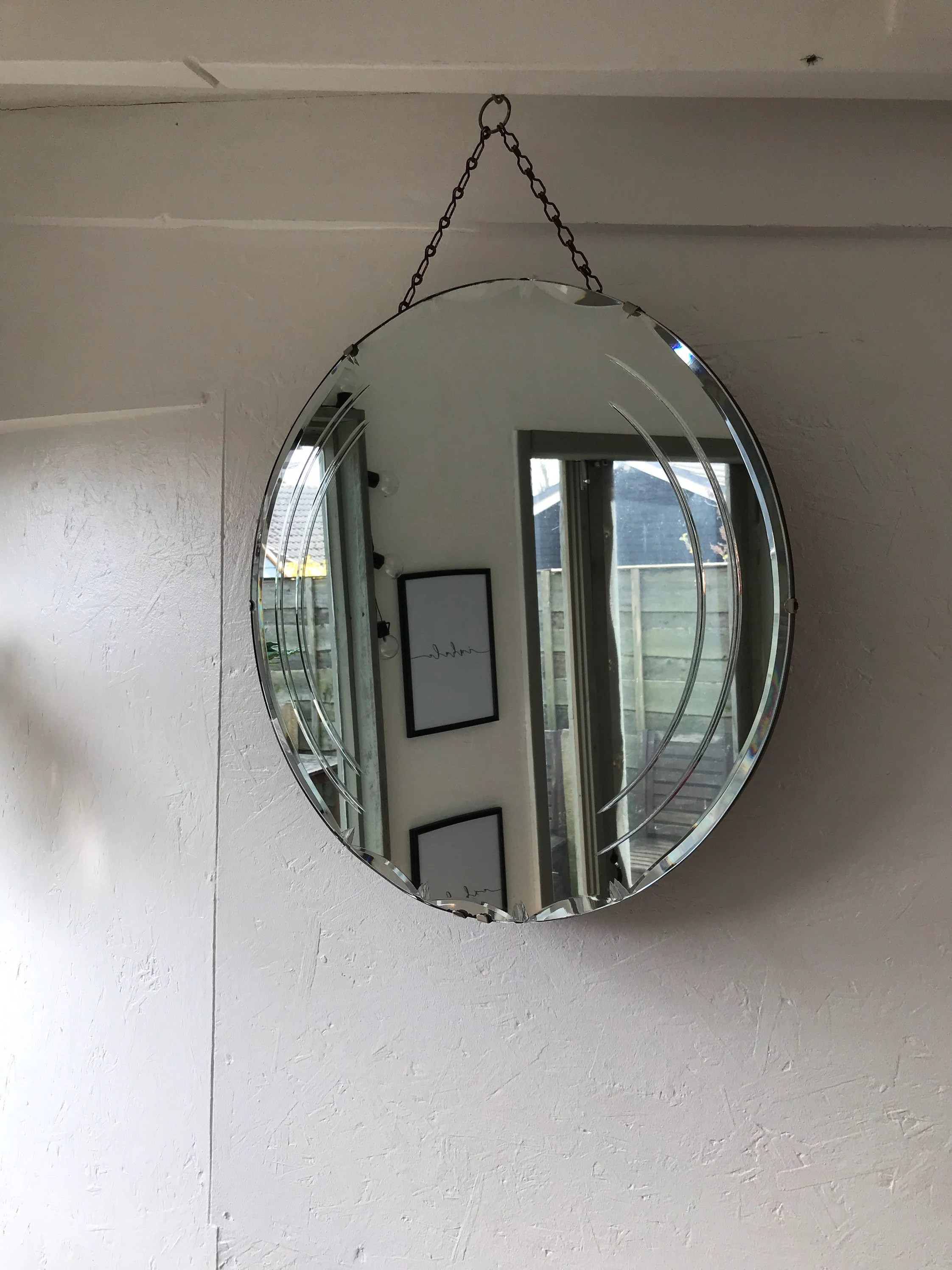 Frameless Mirror On Chain Vintage Etched Mirror Antique Frameless Bevelled Mirror