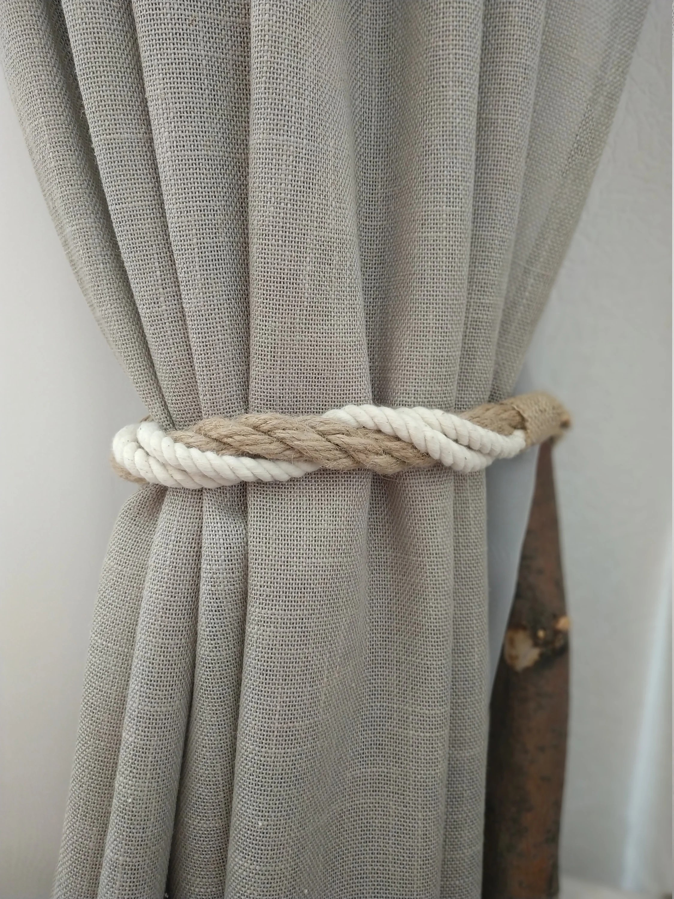 Rope Curtain Twisted Rope Curtain Tie Backs Nautical Curtain Tie Back Jute Cotton Curtain Tiebacks Nautical Décor For Curtains Rope Holdback