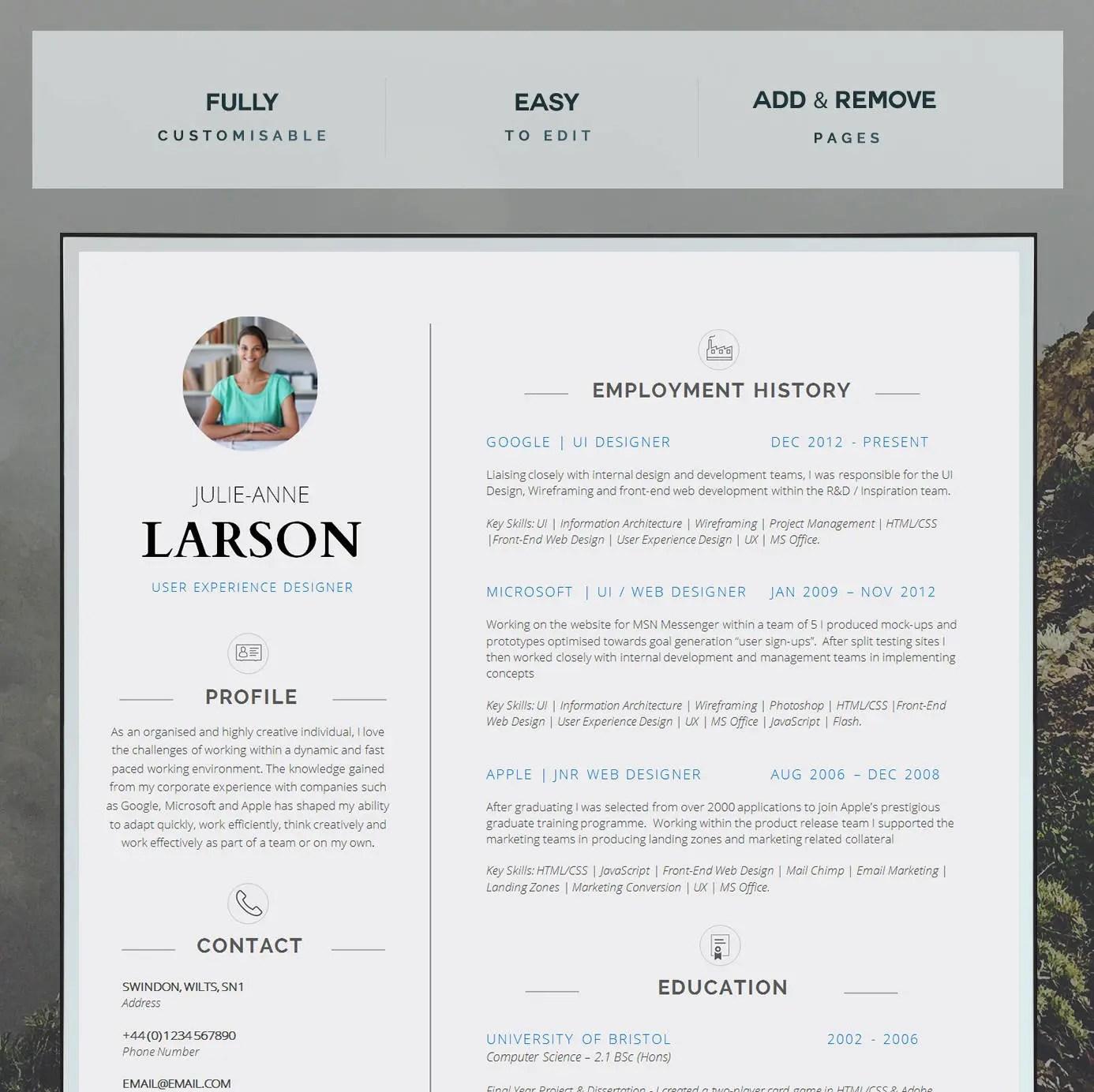 Resume Template CV Template Cover Letter Application Etsy