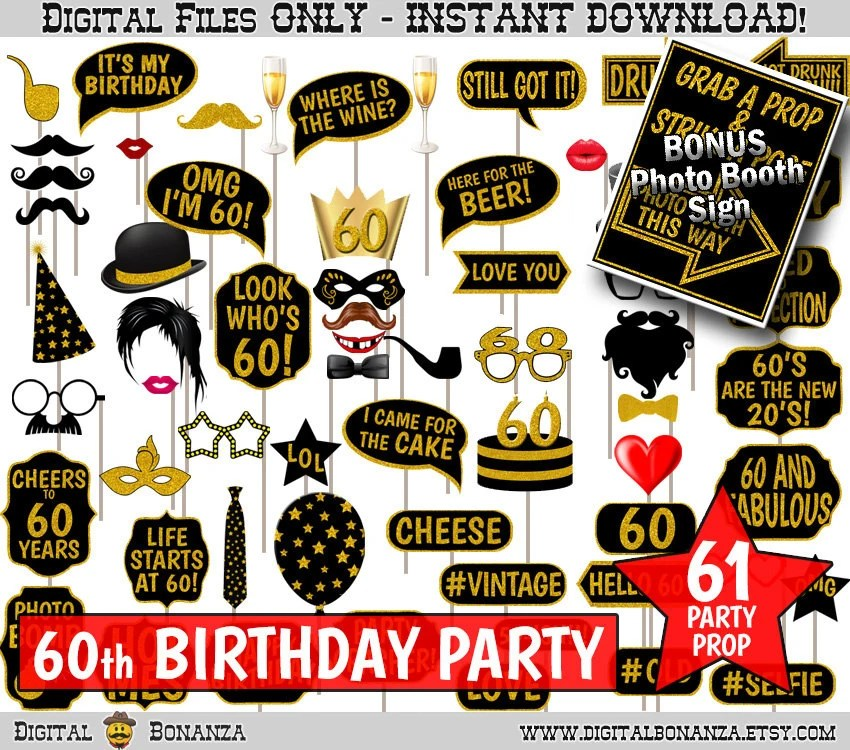 60th Birthday Party Printable Photo Booth Props Black and Etsy