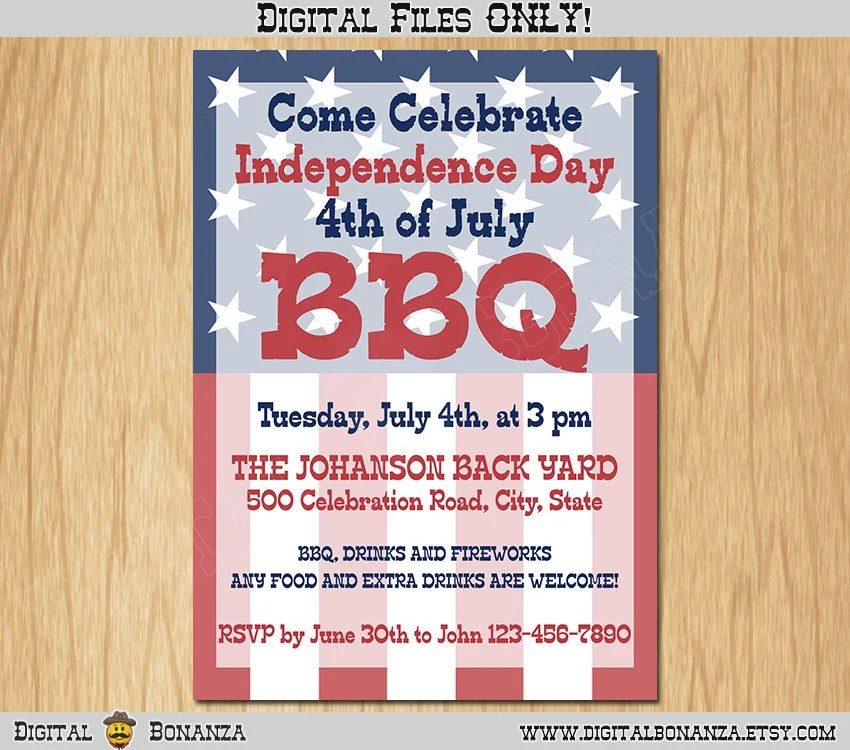 4th of July Independence Day Printable Invitation, Red White and
