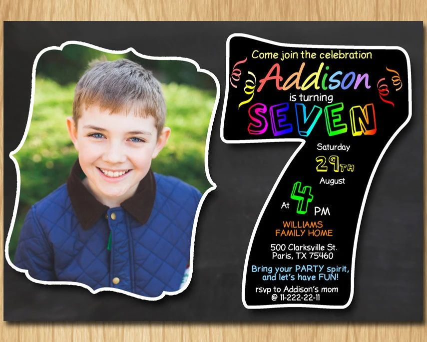 invitation card 7th birthday boy