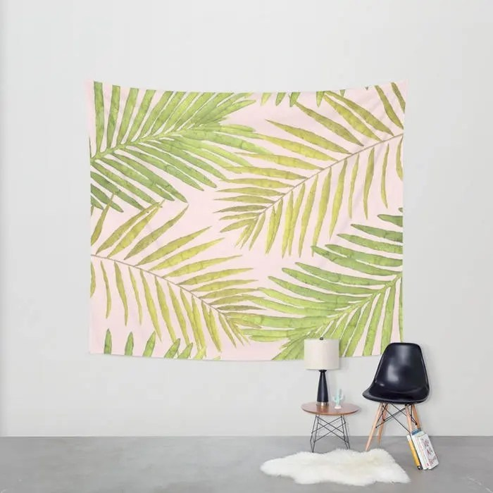 Wall Tapestry - Palms Against Blush - Pink Green Yellow - Small