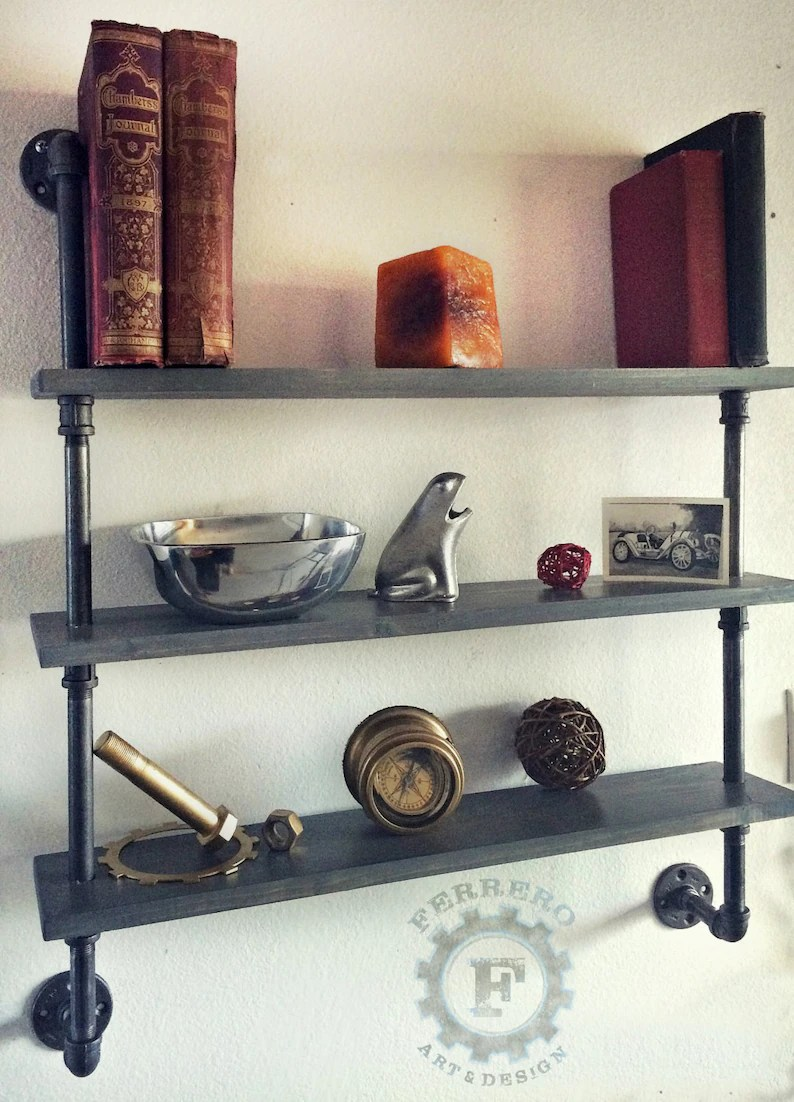 Bücherregal Industrial Steampunk Shelf Industrial Shelves Wall Shelves Industrial Shelf Pipe Shelf Pipe Shelving Rustic Shelf Shelving