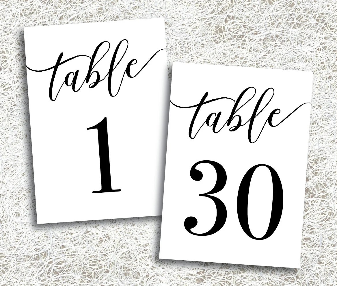 Printable Table Numbers 1 30 Instant Download Printable Etsy