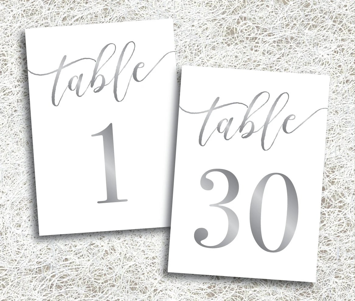 Silver Printable Table Numbers 1 30 Instant Download Etsy