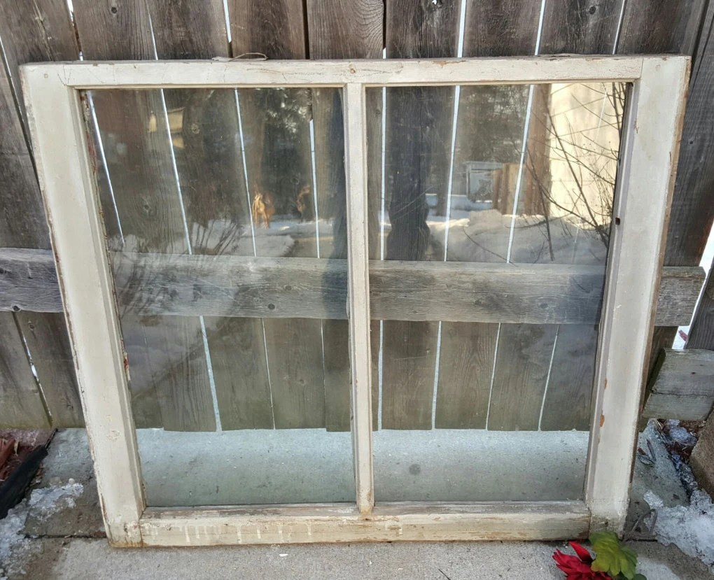 Old Wood Window Frame Two Pane Vintage Window Home Decor Etsy