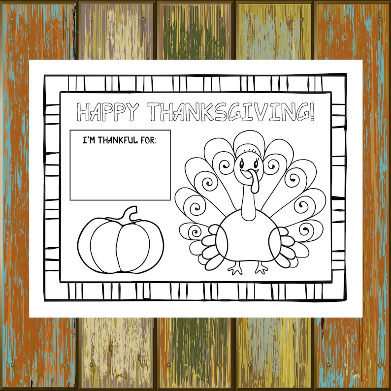 Printable Thanksgiving Placemat 85x11 85x14 11x17 Etsy