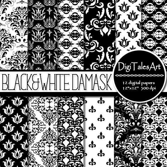 Damask digital paper BlackWhite Damask digital Etsy