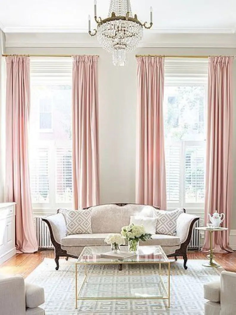 Pink Living Room Curtains Pair Of Pedal Pink Curtains Linen Blend Pink Drapery Custom Curtains Extra Long Extra Wide Nursery Room Curtains