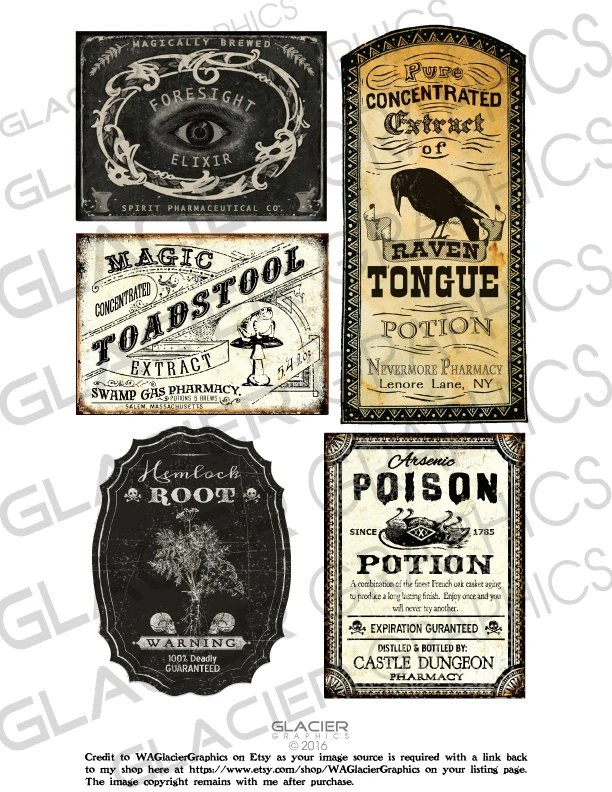 Halloween Poison Labels Halloween Witch Potion Labels Etsy