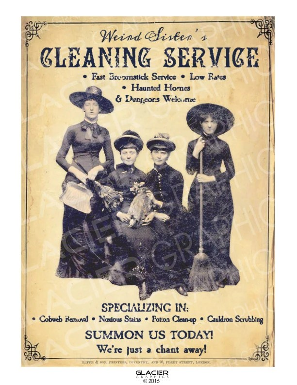 Halloween Witch Newspaper Ad Witches Cleaning Ad Digital Etsy