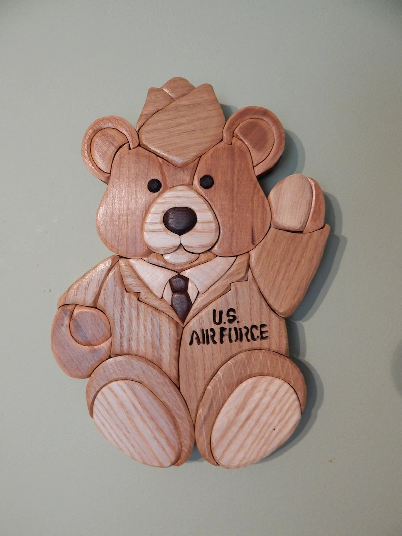 Arte En Madera Intarsia Air Force Bear Wood Intarsia Wall Hanging Scroll Saw Art