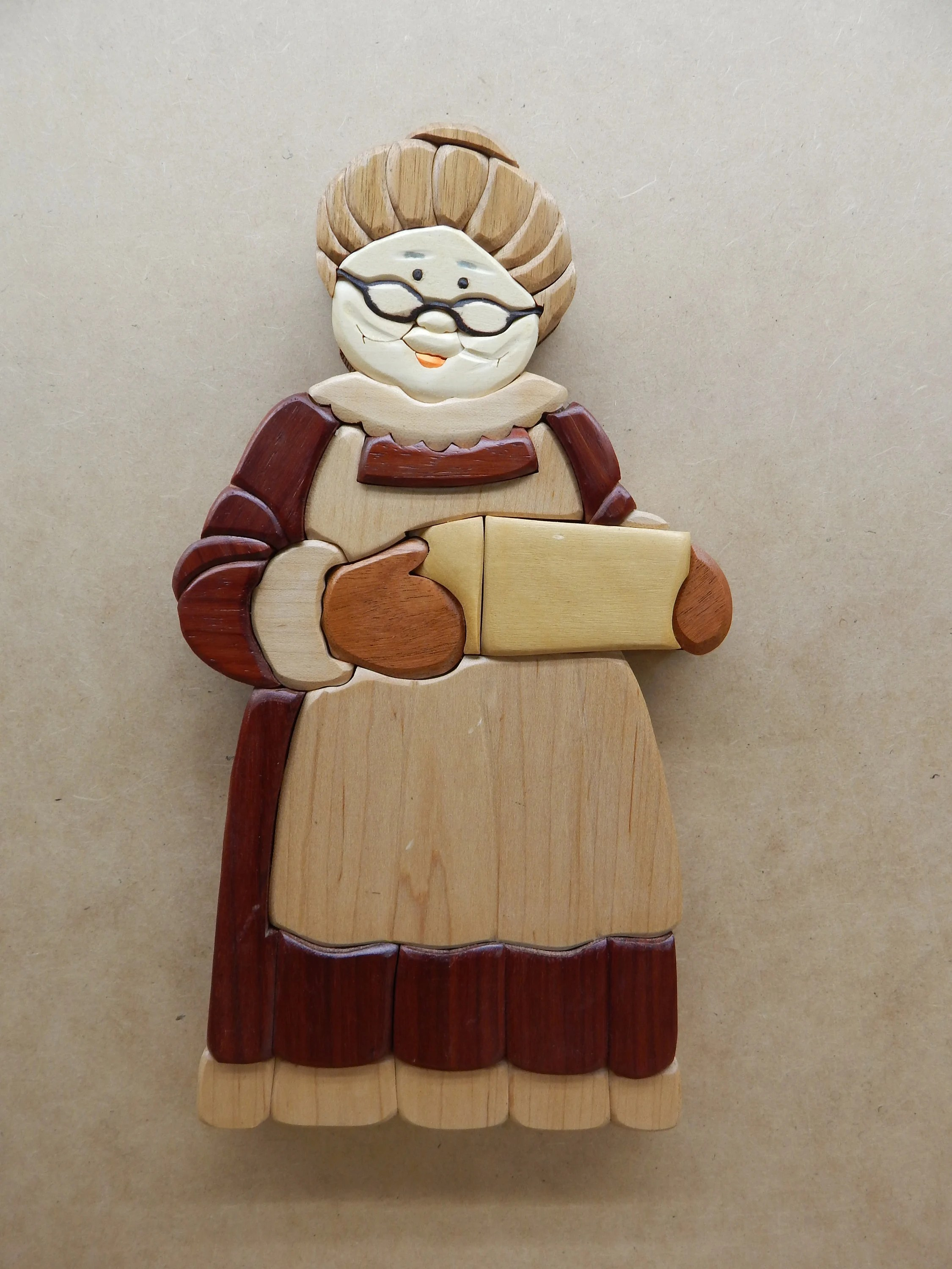 Arte En Madera Intarsia Mrs Claus Wood Intarsia Wall Hanging Scroll Saw Art