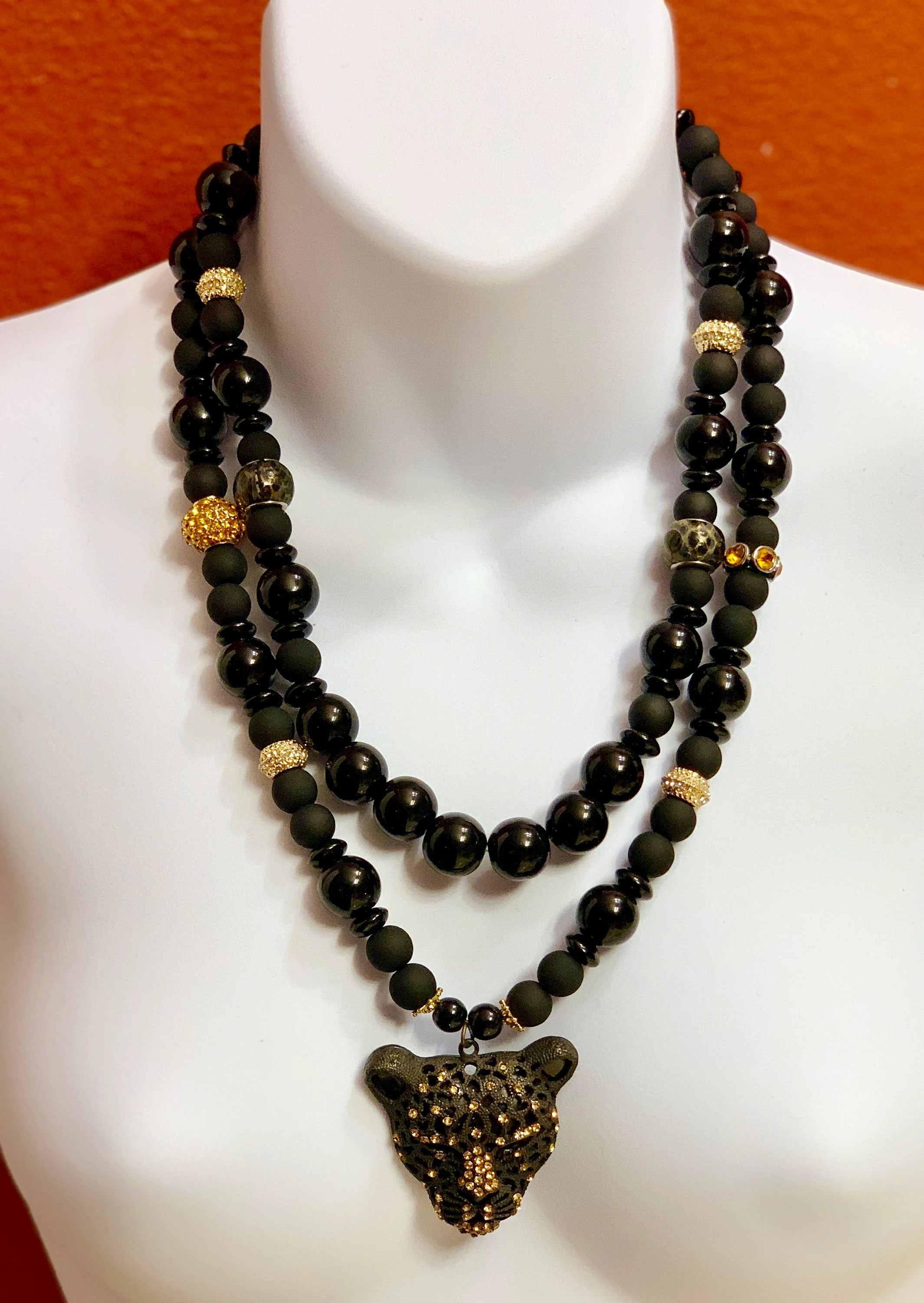 Regal Design La'faye Regal Design By Dana, Black Jaguar Two-strand Necklace Collection 2019 # 1
