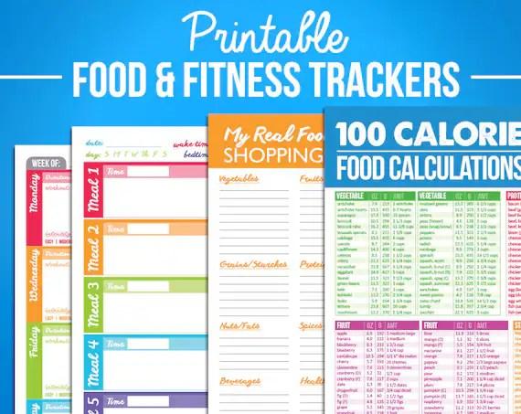 Printable Food  Fitness Diary Journal Trackers Digital PDF Etsy