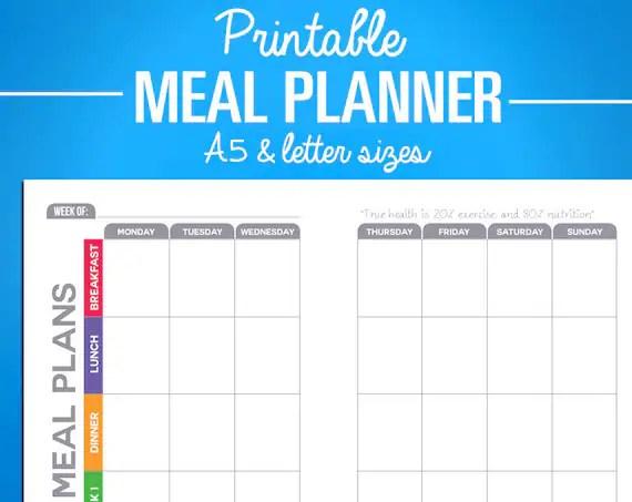 Printable Meal Planning Calendar Tracker Digital PDF Etsy