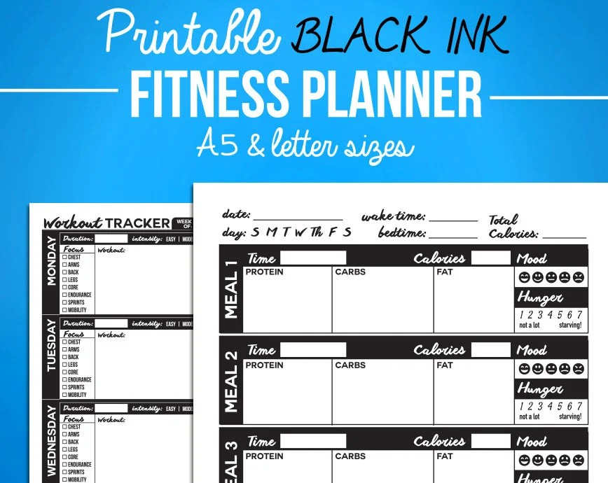 Printable Fitness Journal Black Diet Diary Nutrition  Etsy