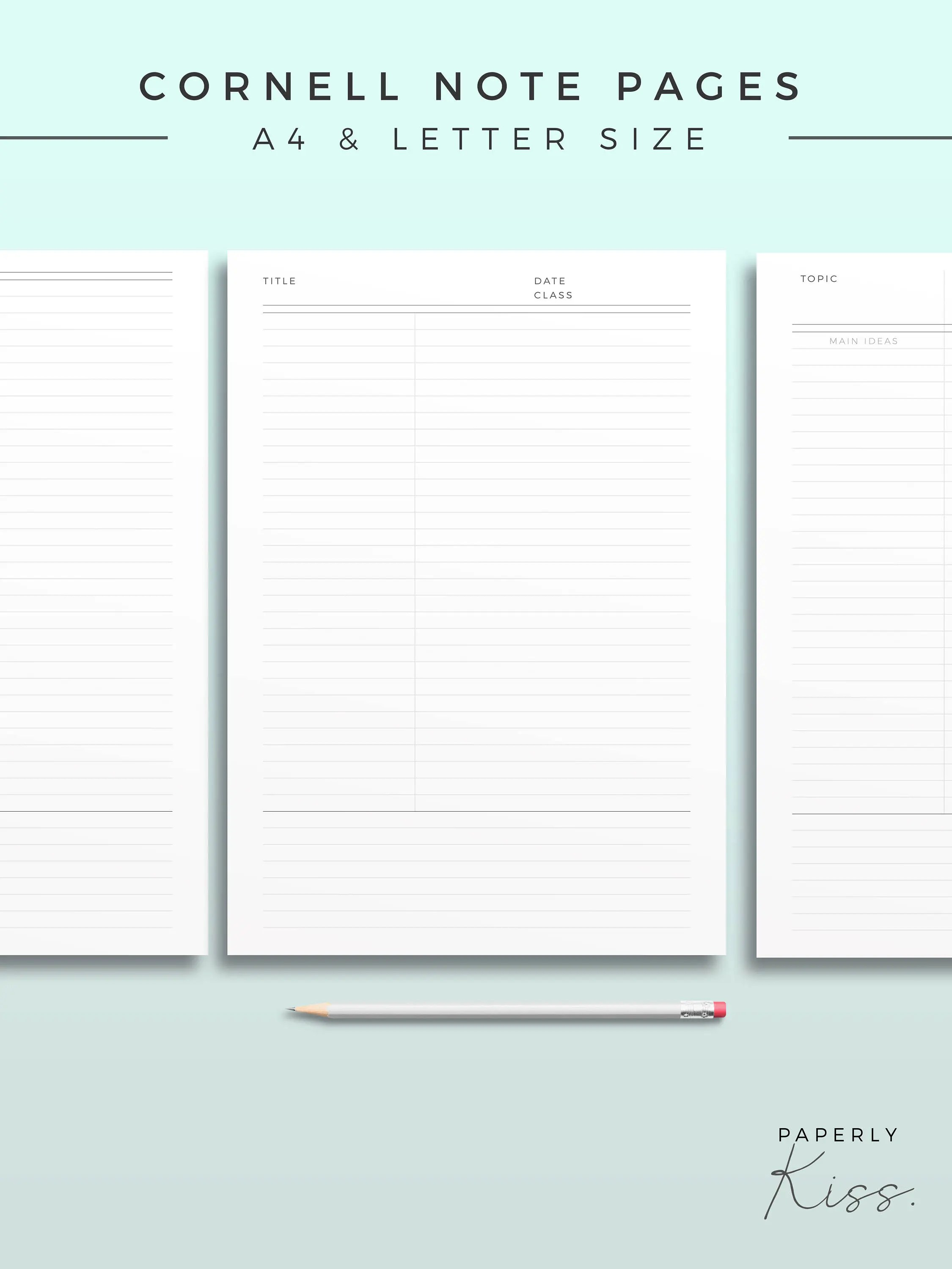Cornell Note Template Printable Note Inserts Productivity Etsy