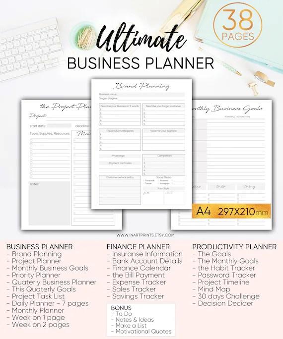 Business Planner productivity planner goal planner success Etsy