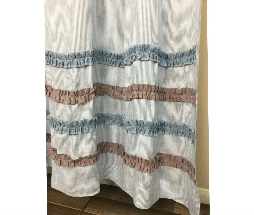 Linen Stripe Shower Curtain Blue And White Ticking Stripe Shower Curtain With Chambray Surf Blue And Chambray Raspberry Ruffle Rows 100 Linen Custom Shower Curtains