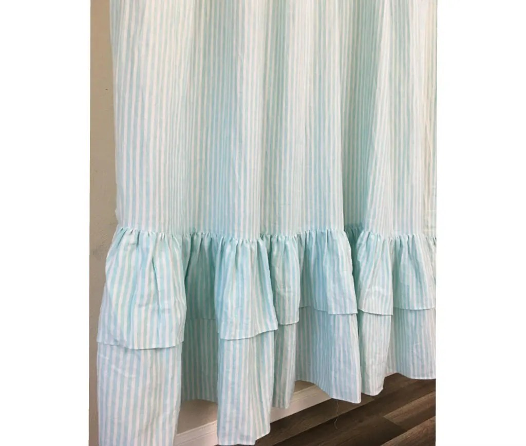 Linen Stripe Shower Curtain Green And White Striped Shower Curtain With Two Tiered Ruffles Linen Striped Shower Curtain