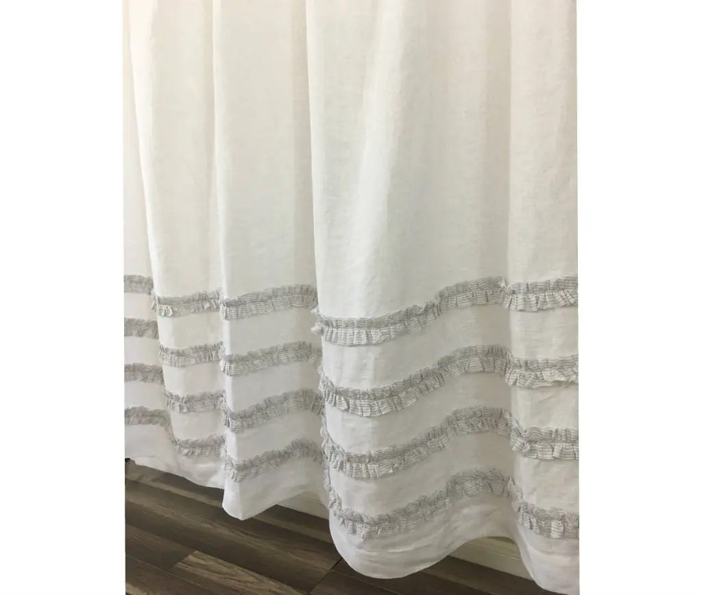 Linen Stripe Shower Curtain White Linen Shower Curtain With Grey Ticking Stripes 4 Rows Of Ruffles 72x72 72x85 72x94 72x72 Custom Shower Curtain Extra Long Wide