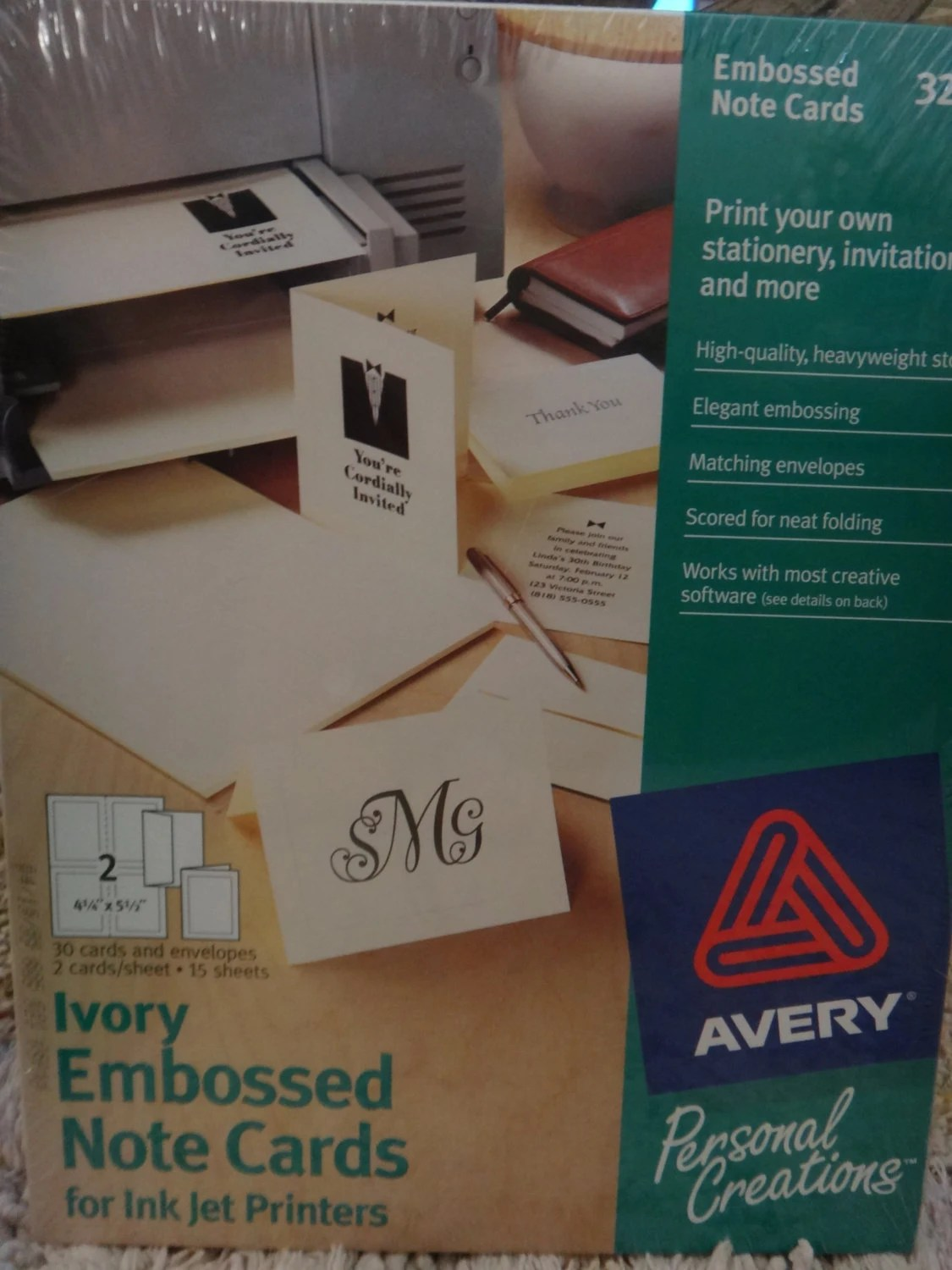 Free Shipping Avery 3259 Ivory Embossed Half-Fold Cards for Etsy