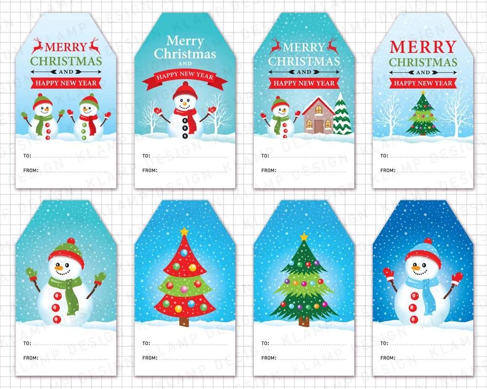 Christmas Tags Clipart CHRISTMAS GIFT Tags Etsy