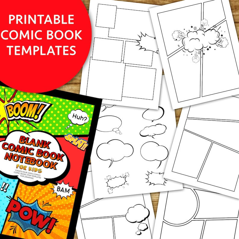 Comic Book Strip templates superhero cartoon Blank Digital Etsy