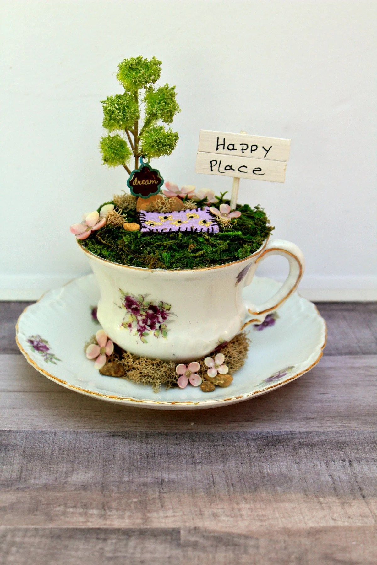 Picnic Decor Happy Place Picnic Scene Tea Cup Garden Teacup Decor Desktop Garden Summer Decor Miniature Moss Garden Dream Garden