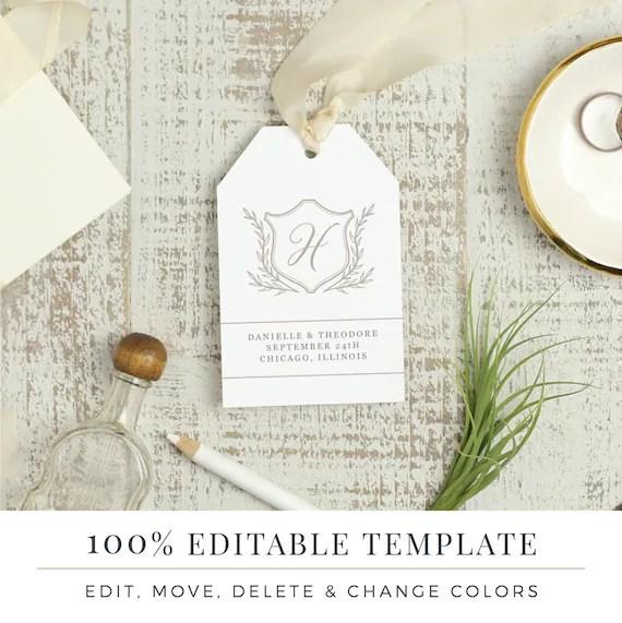 Wedding Favor Tag Template Printable Hang Tags Word or Etsy