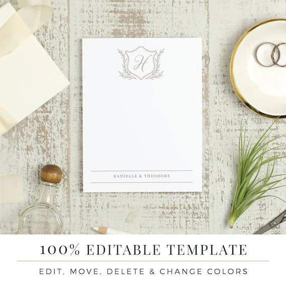Printable Stationery Template Printable Thank You Word or Etsy
