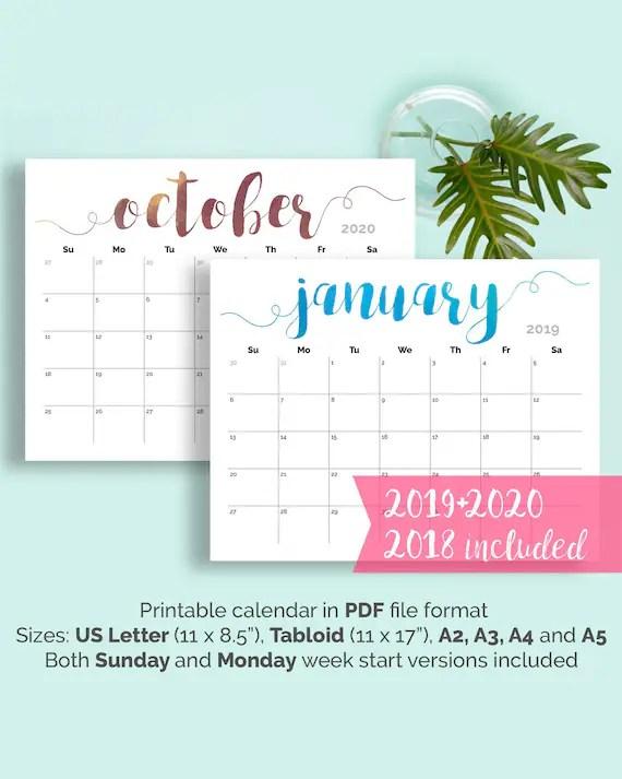 PRINTABLE Calendar 2019 Large Wall Calendar 2019-2020 Desk Etsy
