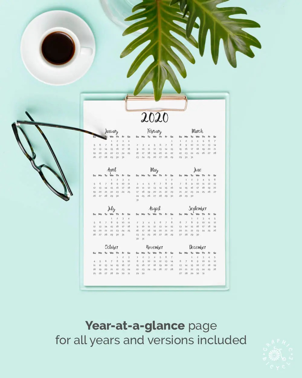 Printable Calendar 2019 2020 2018 Desk Calendar Pdf Download Etsy