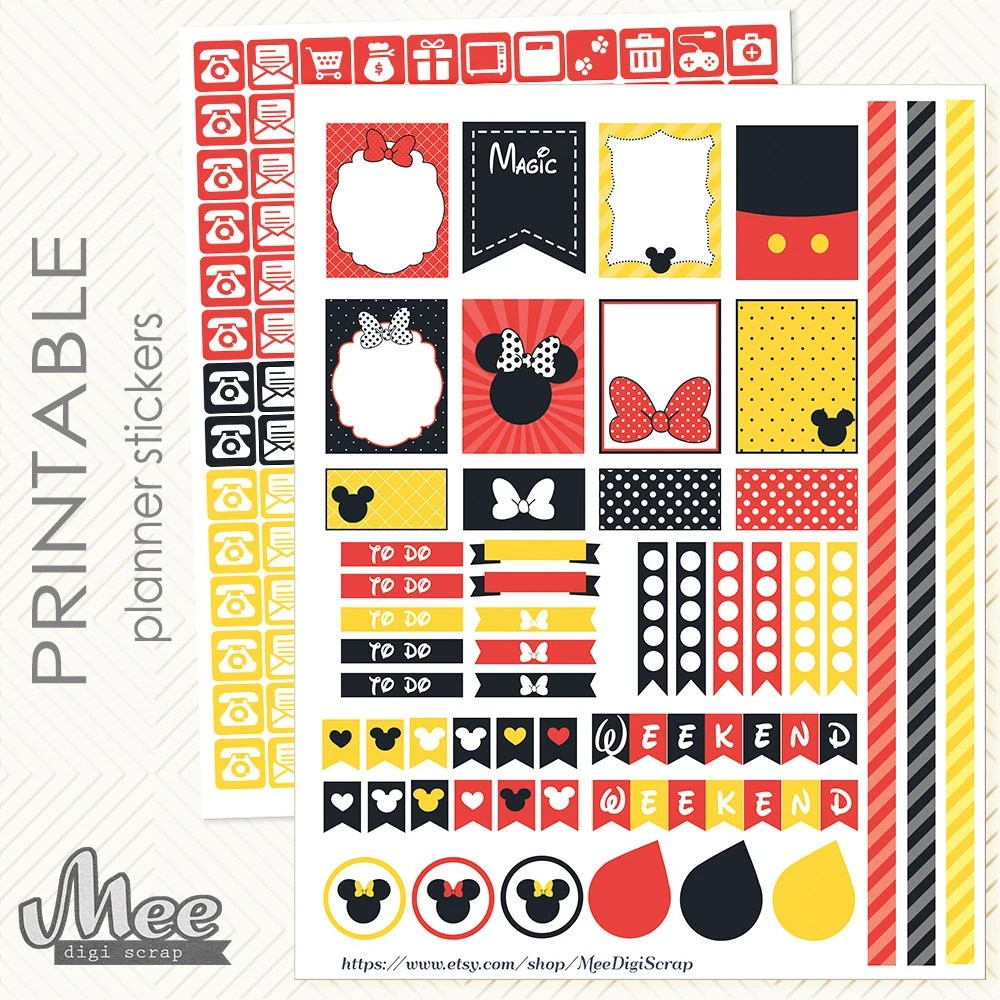 Mickey and Minnie mouse inspired PRINTABLE Planner Stickers Etsy