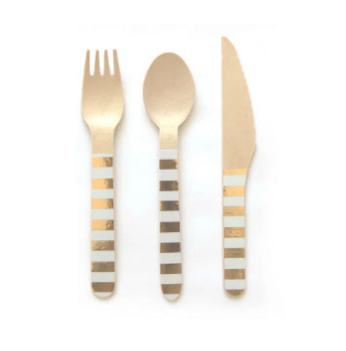 Gold Cutlery Sets Gold And White Striped Wooden Cutlery Set Of 24 Gold And White Stripe Wooden Forks Spoons Or Knives The Perfect Touch For Any Party