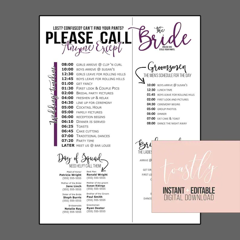 Wedding Schedule Template Purple Timeline of Events Phone Etsy