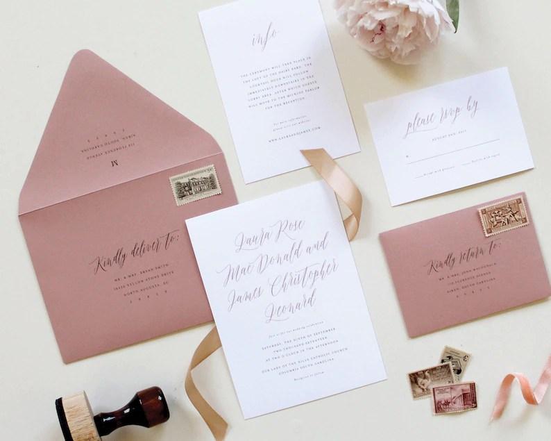 Dusty Rose Wedding Envelope Wedding Envelope Printing Mauve Etsy