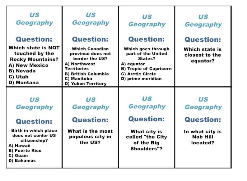 Printable US Geography Trivia Card Game US Geography Trivia Etsy