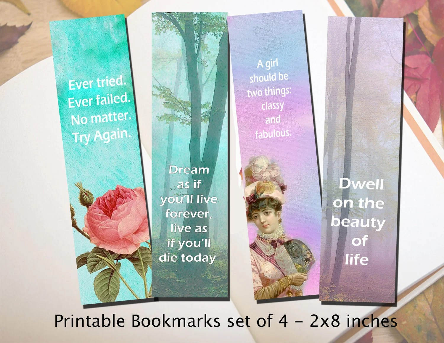 Printable Bookmark inspirational and motivational quotes Etsy