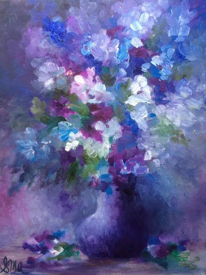 Purple Blue Flowers Painting Original Oil Artwork Etsy