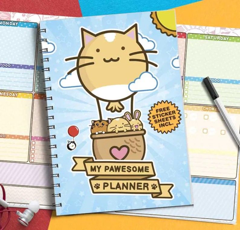 My Pawesome Planner Open Yearly Diary Gift Set Fuzzballs Etsy