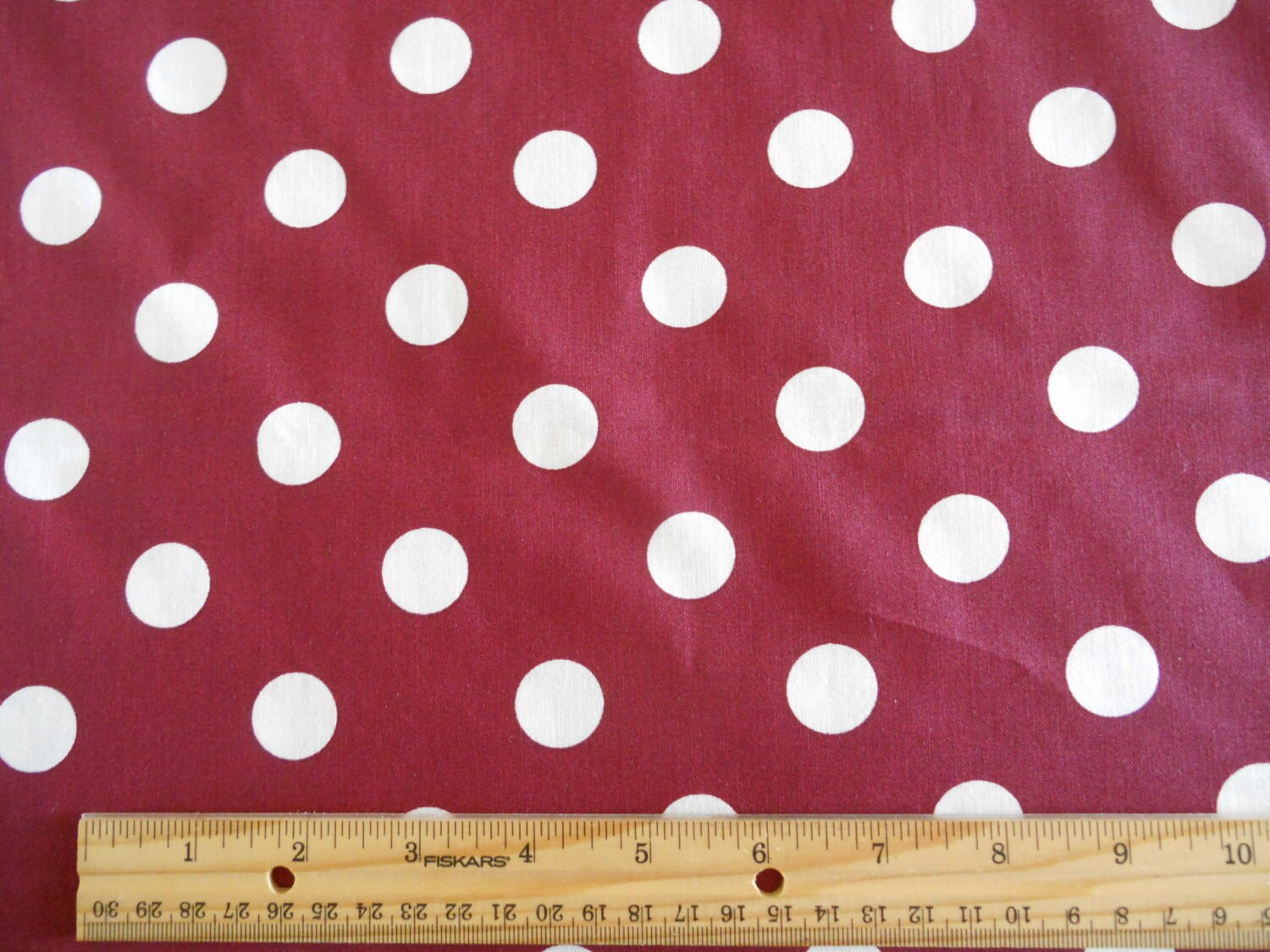 Garage Sale Dots Burgandy With White Dots Cotton Fabric By The Yard Sale